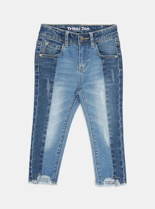 Jeans Tribu Flecos Niña,Azul Marino,hi-res