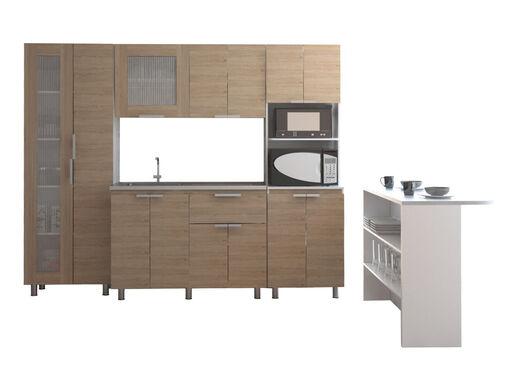 Muebles Cocina Fendi Alacena + Interior + Auxiliar + Superior + Mueble  Microondas Rovere Blanco TuHome