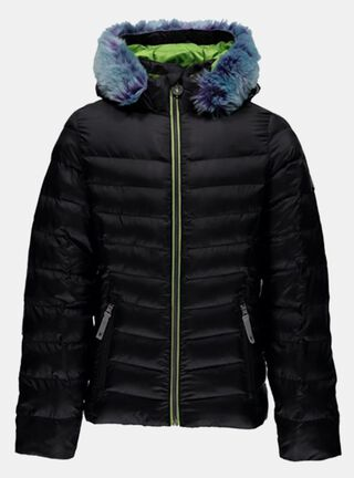 Parka Spyder Timeless Hoody Faux Fur Down Outdoor Niña,Negro,hi-res