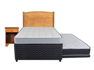 Diván Cama Therapedic Colors Negro 1.5 Plazas Flex + Set Muebles Juvenil,,hi-res