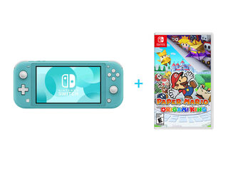 NINTENDO SWITCH LITE TURQUOISE + PAPER MARIO: THE ORIGAMI KING
