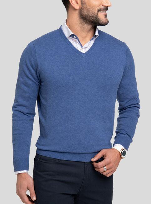 Sweater%20Algod%C3%B3n%20Cuello%20V%20Melange%20Arrow%2CAzul%2Chi-res
