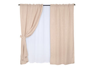 Set Cortinas 8 piezas Tubo Kate 145 x 220 cm Mashini,Beige,hi-res