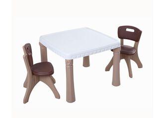 Set Mesa Plastico con Sillas Madera Kidscool,,hi-res