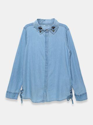Blusa Melt Aplicación Cuello Niña,Azul Eléctrico,hi-res