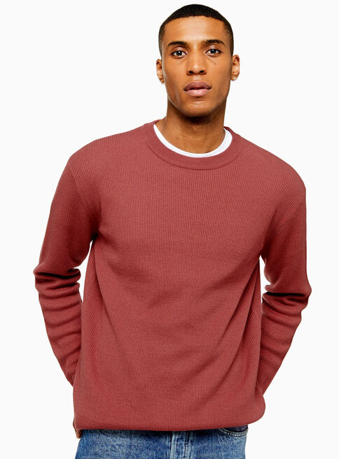 Sweater%20Pink%20Lightweight%20Textured%20Topman%2C%C3%9Anico%20Color%2Chi-res