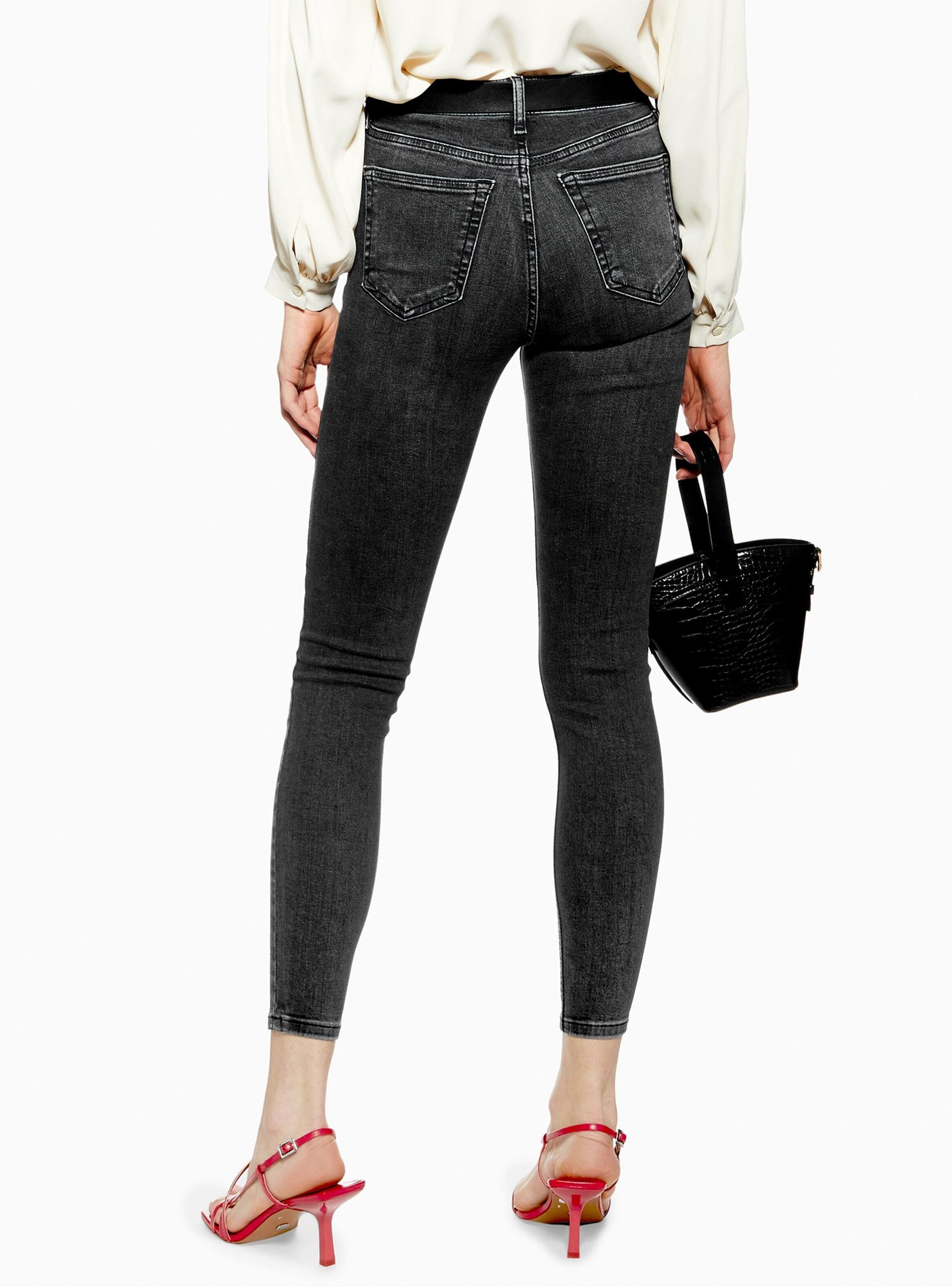 Jeans Jamie Washed Black Largo 32 Topshop