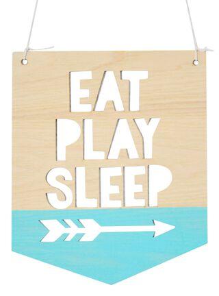 Banderín Madera Eat Play Sleep 21 x 25 cm Iman Decor,,hi-res