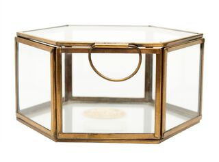 Caja Hexagonal Gold 16x8 cm Alaniz Home,,hi-res