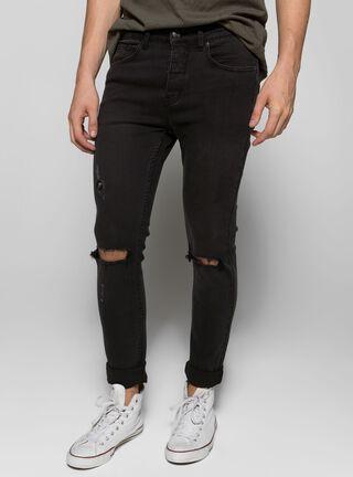 Jeans Liso con Roturas Foster,Negro,hi-res