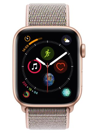 Apple Watch Series 4 (GPS), caja aluminio en oro 44 mm y correa Loop deportiva rosa arena,,hi-res