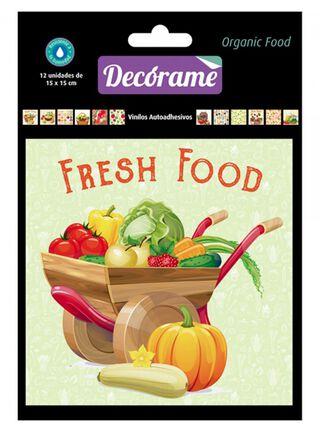 Pack 12 Vinilos Organic Food 15 x 15 x 15 cm Decórame,,hi-res