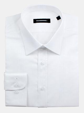 Camisa Slim Fit Largo de Manga 33-34 Cuello Romo Sin Bolsillo Vandine,Marfil,hi-res