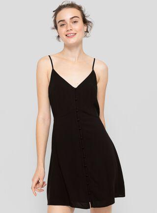Vestido Botones Corto Opposite,Negro,hi-res