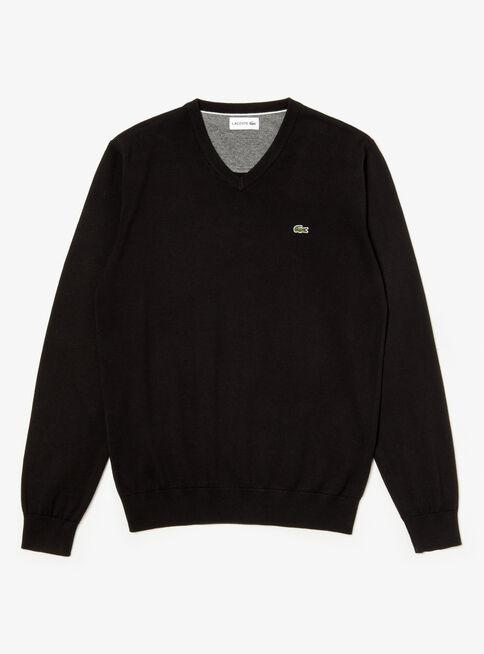 Sweater%20Jersey%20Cuello%20V%20Algod%C3%B3n%20Lacoste%2CNegro%2Chi-res