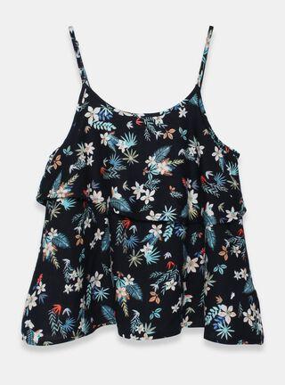 Blusa Melt Floral Print Niña,Azul Oscuro,hi-res