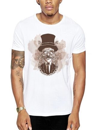 Polera Steampunk Get Out,Blanco,hi-res