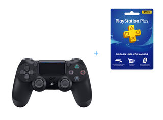 CONTROL PS4 DUALSHOCK 4 NEGRO + TARJETA PLAYSTATION PLUS 3 MESES