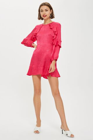 Vestido Jacquard Ruffle Tea Dress Topshop,Único Color,hi-res