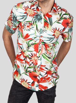 Camisa Manga Corta Botánica Libre Apparel,Marfil,hi-res