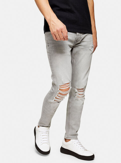 Jeans%20Gris%20Distressed%20Ripped%20Stretch%20Skinny%20Topman%2C%C3%9Anico%20Color%2Chi-res