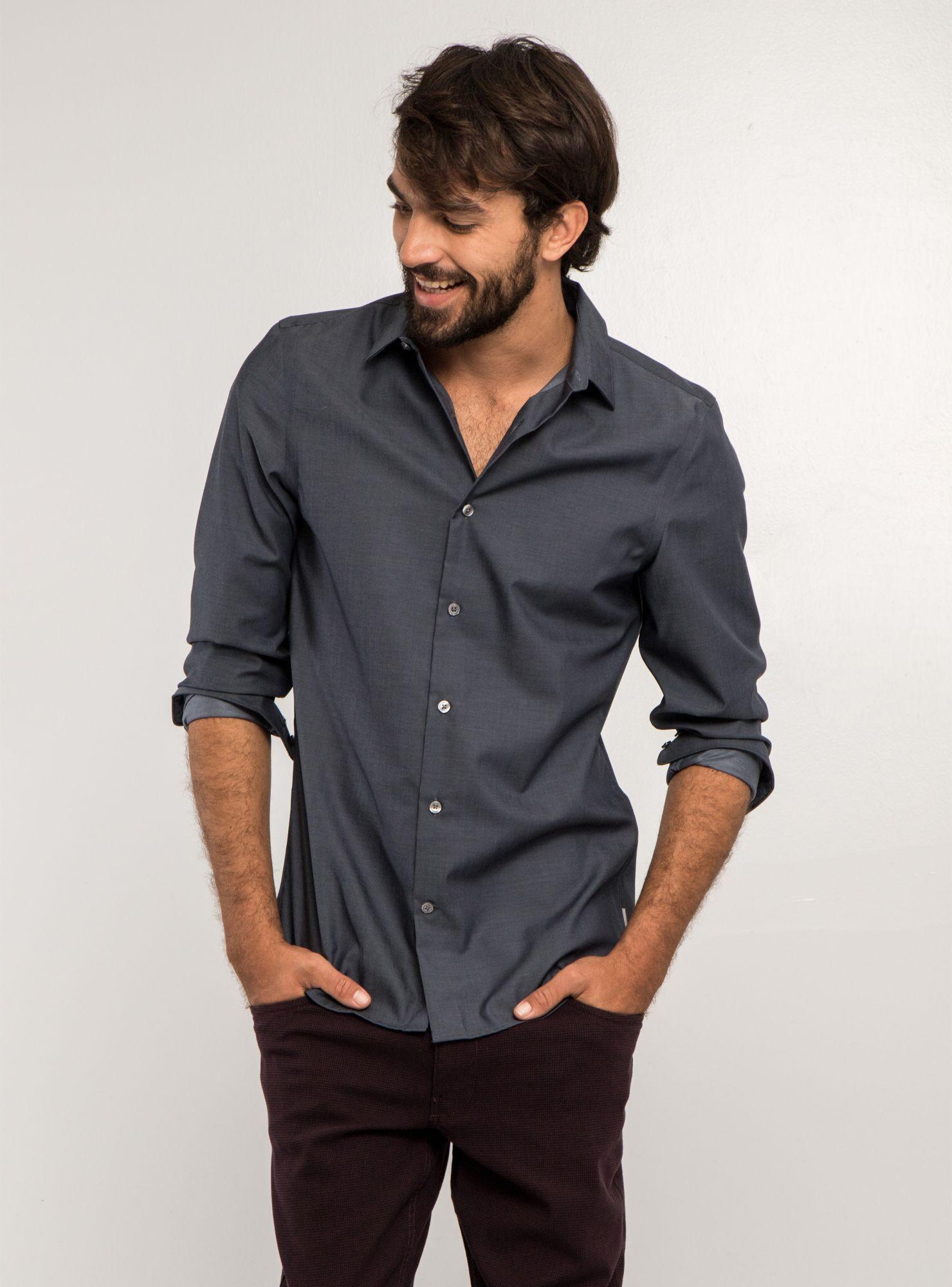 ef164c3a0c Camisa Lisa Slim Fit Non Iron Perry Ellis - Camisas