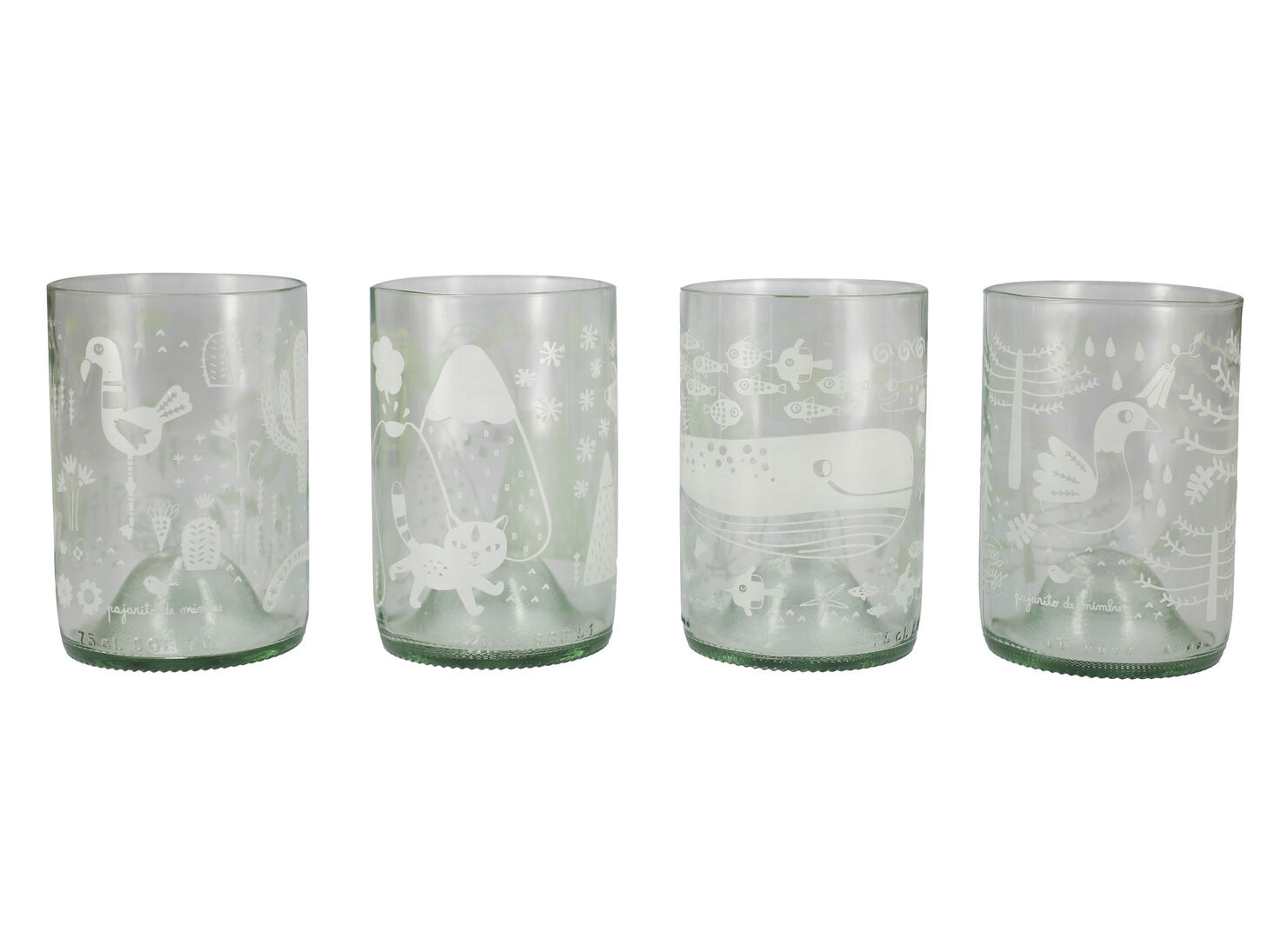 a267572050e8 Set de 4 Vasos Flora y Fauna + Packing Green Glass