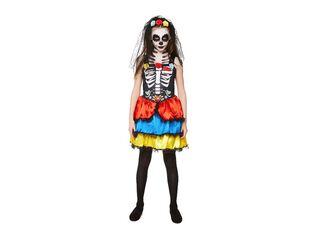 Disfraz Catrina Vestido Niña Carnaval,Único Color,hi-res
