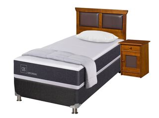 Box Spring New Ortopedic Black 1.5 Plazas + Set Muebles Torino + Almohada + Plumón Cic,,hi-res