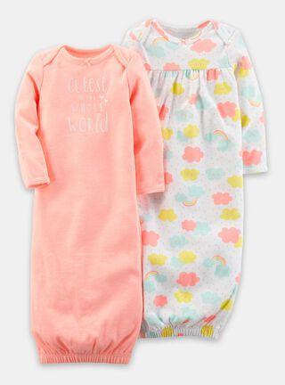 Set camisas de dormir Niña 0 A 3 Meses Carter's,Salmón,hi-res