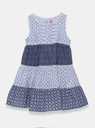 Vestido Tribu Print Niña,Azul Marino,hi-res