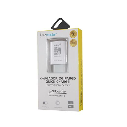 Cargador%20Pared%201%20Usb%203A%20Tecmaster%20Blanco%2Chi-res