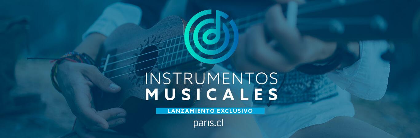 Instrumentos de percusión, cuerdas, viento, teclados y más