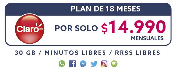 Plan Claro 18 Meses por solo $14.990