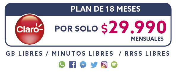 Plan Claro 18 Meses por solo $29.990 mensual
