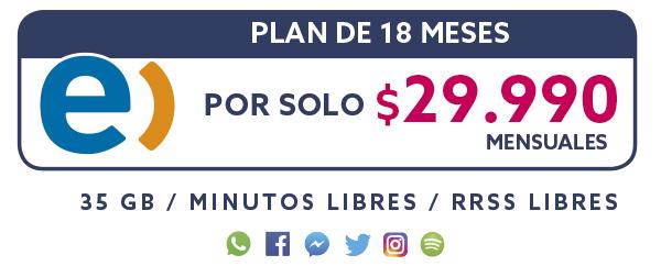Plan Entel 18 meses por solo $29.990 mensual