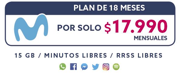 Plan Movistar 18 Meses por solo $17.990 mensual