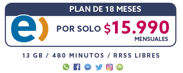 Plan Entel 18 Meses por solo $15.990 mensual