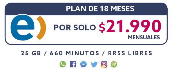 Plan Entel 18 Meses por solo $21.990 mensual