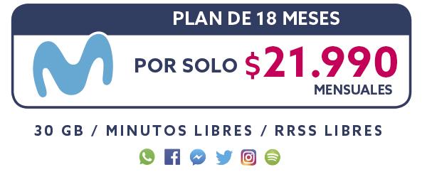 Plan Movistar 18 Meses por solo $21.990 mensual