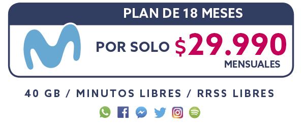 Plan Movistar 18 Meses por solo $29.990 mensual