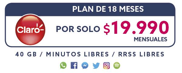 Plan Claro 18 Meses por solo $19.990 mensual