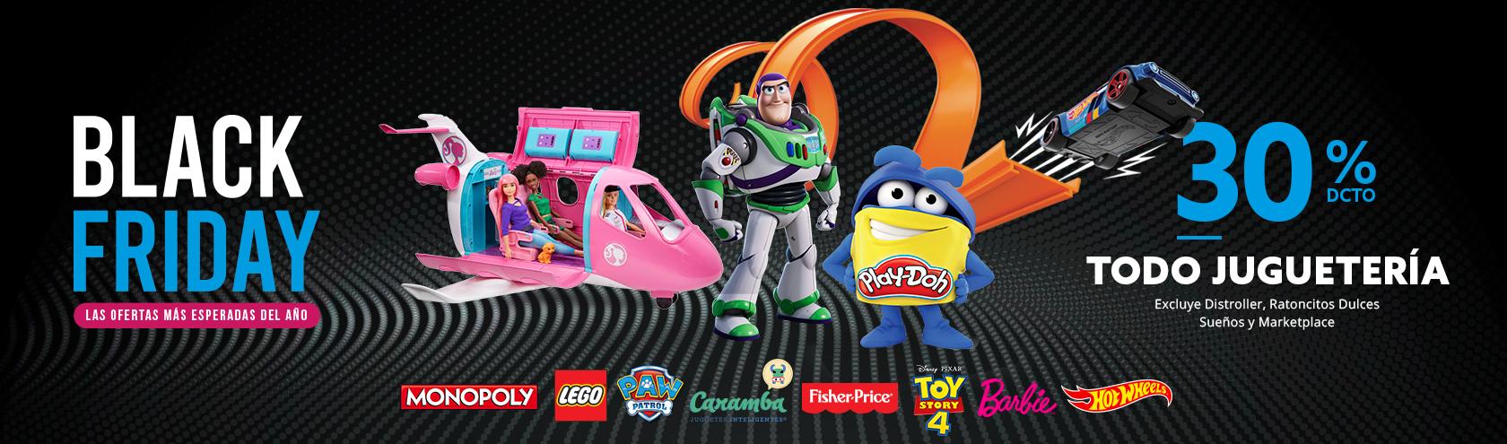 30 porciento de descuento toda la juguetería, excluye Distroller, Ratoncitos Dulces Sueños y Marketplace