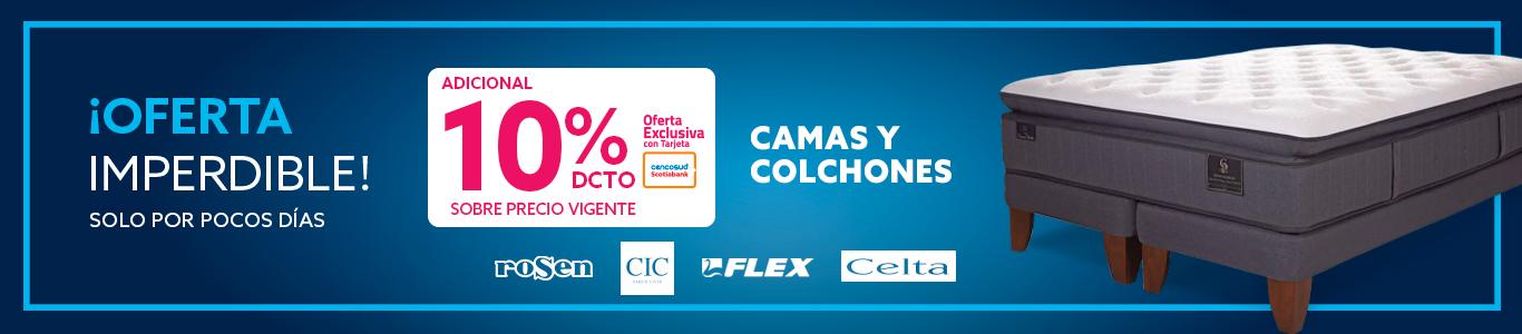 10% de descuento adicional sobre precio vigente en Camas y Colchones pagando con Tarjeta Cencosud