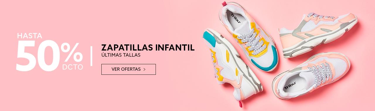 Hasta 50 porciento de descuento en zapatillas niña y niño últimas tallas