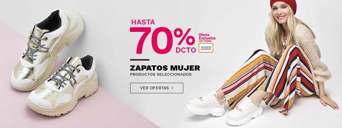 Hasta porciento de descuento en zapatos mujer, productos seleccionados