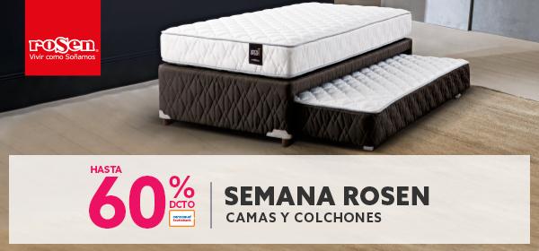 Hasta 60% de descuento con tarjerta cencosud en camas y colchones rosen