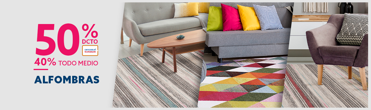 60% de descuento con tarjeta cencosud y 50% todo medio de pago en alfombras
