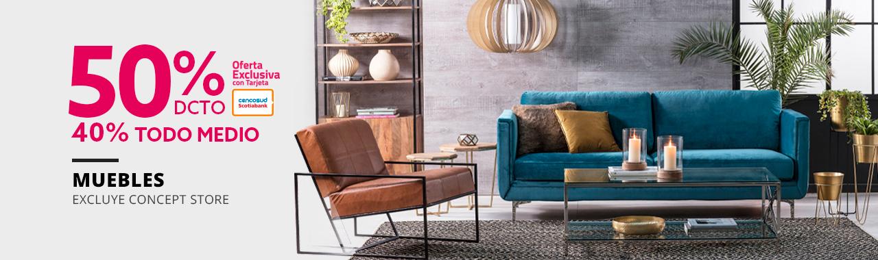 50 por ciento de descuento con tarjeta cencosud y 40 por ciento todo medio de pago en muebles excluye concept store
