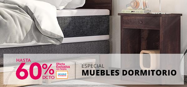 Especial Muebles Dormitorio hasta 60 por ciento de descuento con tarjeta cencosud